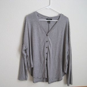 Forever 21 Gray Striped Cardigan - Size Medium